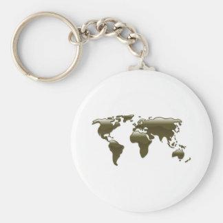 Liquid oil world map key chains