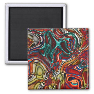 Liquid Sci-Fi Abstract Square Magnet