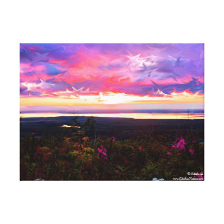 Liquid Sunset Stretched Canvas Print