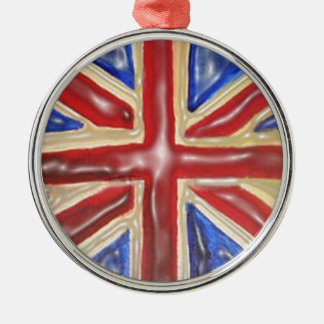 Liquified Union Jack Silver-Colored Round Decoration