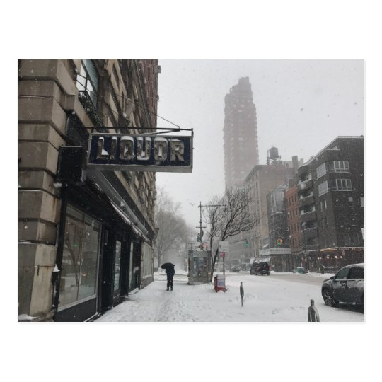 Liquor Store Columbus Avenue Winter Snowstorm NYC Postcard