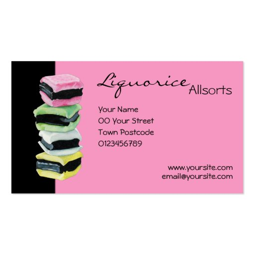 Liquorice Allsorts pink Business Card