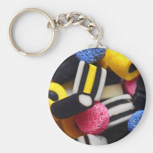 liquorice sweets retro bright rainbow design key chains
