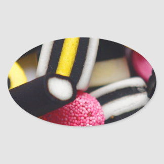 liquorice sweets retro bright rainbow design oval sticker