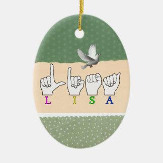 LISA  FINGERSPELLED ASL NAME SIGN FEMALE CHRISTMAS ORNAMENT