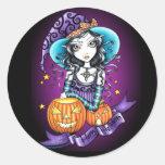 """Lisa"" Halloween Pumpkin Witch Stickers"