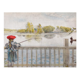 Lisbeth a Little Girl Fishing by Carl Larsson Postcard