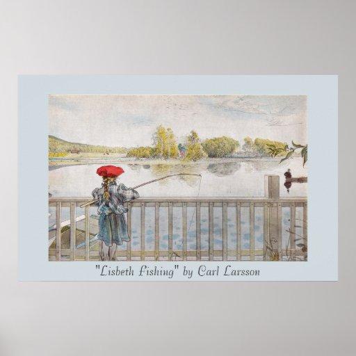 Lisbeth Fishing Carl Larsson Vintage Poster