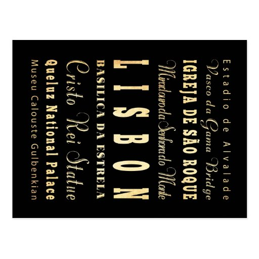Lisbon City of Portugal Typography Art Postcard
