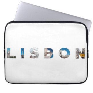 lisbon city portugal landmark inside text symbol laptop sleeve