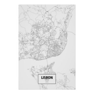 Lisbon, Portugal (black on white) Poster