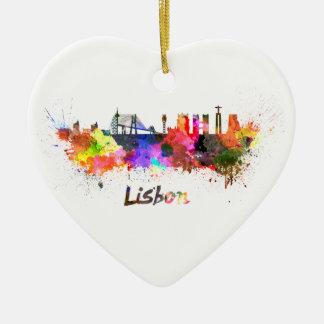Lisbon skyline in watercolor christmas ornament