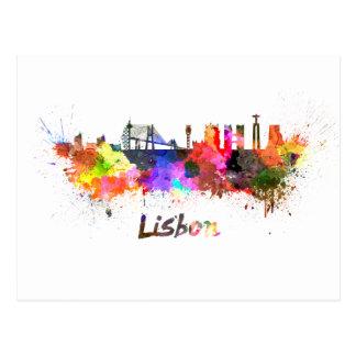 Lisbon skyline in watercolor postcard