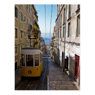 Lisbon street and tramcar the Bairro Alto Postcard