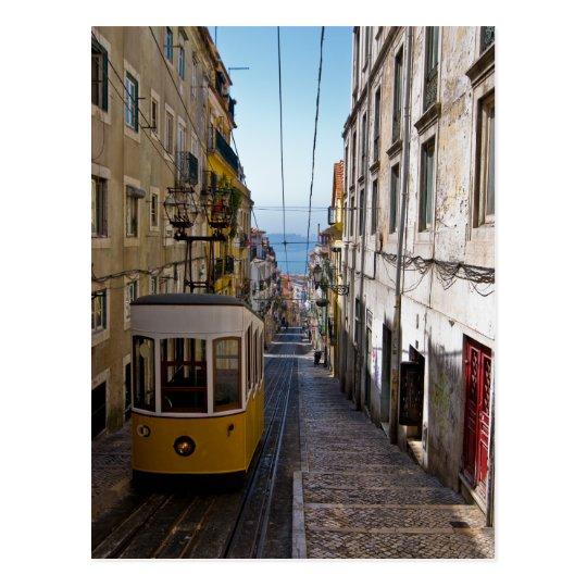 Lisbon street and tramcar the Bairro Alto Postcard