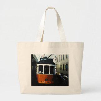 Lisbon tram large tote bag