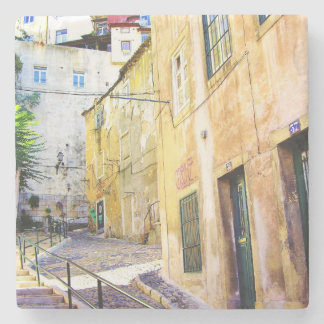 LISBON URBAN STREET COLOR PHOTOGRAPH (MOURARIA) STONE COASTER
