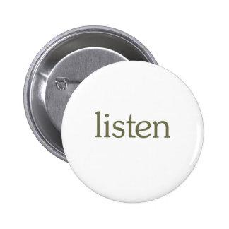Listen (learn) 6 cm round badge
