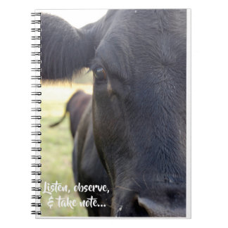 Listen, Observe, & Take Note Cow Notebooks