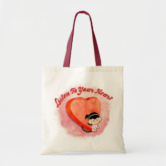 listen to your heart budget tote bag