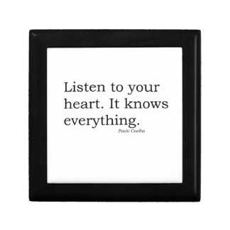 """""""Listen to your heart. It knows everything"""" Coelho Small Square Gift Box"""