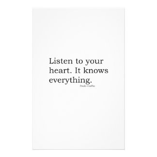 """""""Listen to your heart. It knows everything"""" Coelho Stationery"""