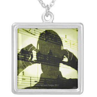 Listening to Music Silver Plated Necklace