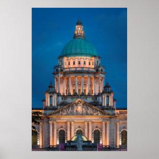 Lit Belfast City Hall Building Poster