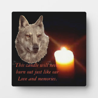Lit Candle In Memory Of Dog Plaque