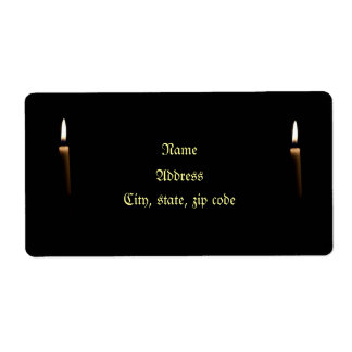 Lit candle shipping label