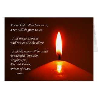 lit candle note card