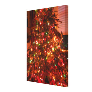 Lit Christmas Tree Stretched Canvas Print