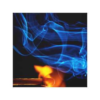 Lit Match, Fire and Smoke Stretched Canvas Print