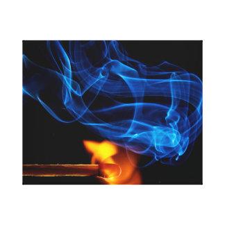 Lit Match, Fire and Smoke Canvas Prints