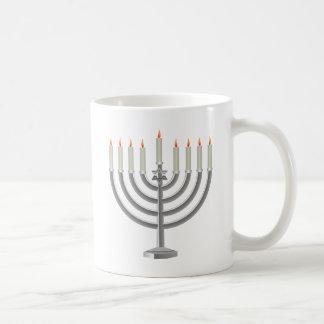 Lit Silver Hanukkah Menorah with Star of David Basic White Mug