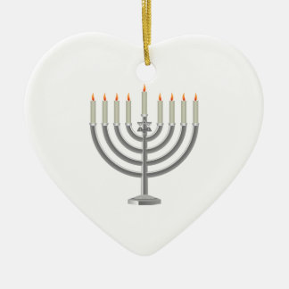 Lit Silver Hanukkah Menorah with Star of David Ceramic Heart Decoration