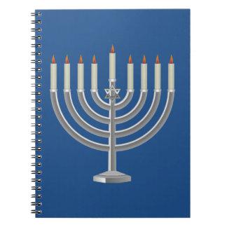 Lit Silver Hanukkah Menorah with Star of David Notebooks