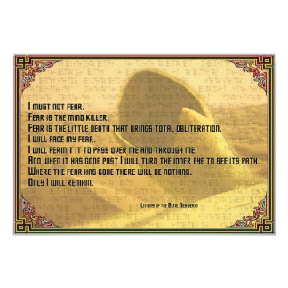 Litany Against Fear Shai Hulud and Fremen Text Photograph
