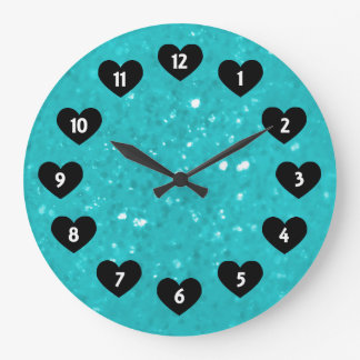 Lite Blue Glimmer With Heart Wall Clock
