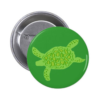 Lite green honu sea turtle button