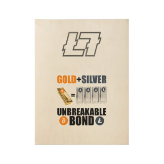Litecoin 2017 - Gold and Silver Wood Poster