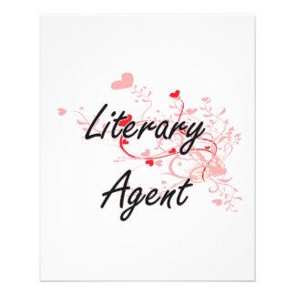 Literary Agent Artistic Job Design with Hearts 11.5 Cm X 14 Cm Flyer
