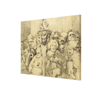 Literary Characters Assembled Around the Medallion Canvas Print