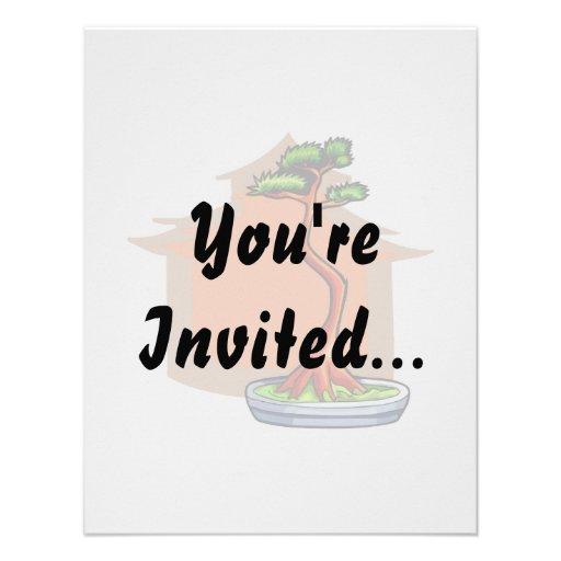 Literati Bonsai With House Bonsai Graphic Image Personalized Invites