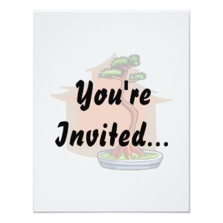 "Literati Bonsai With House Bonsai Graphic Image 4.25"" X 5.5"" Invitation Card"