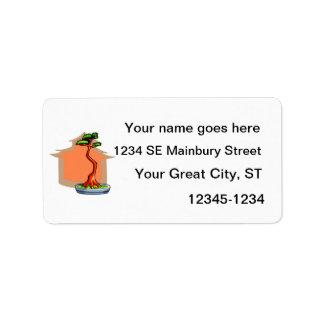 Literati Bonsai With House Bonsai Graphic Image Address Label