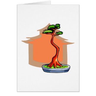 Literati Bonsai With House Bonsai Graphic Image Note Card