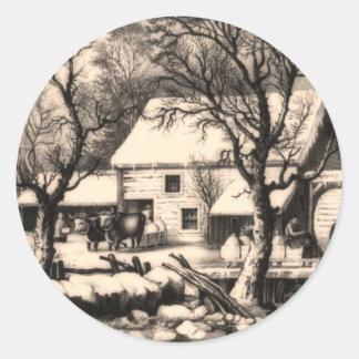 Lithograph Winter Scene Sticker