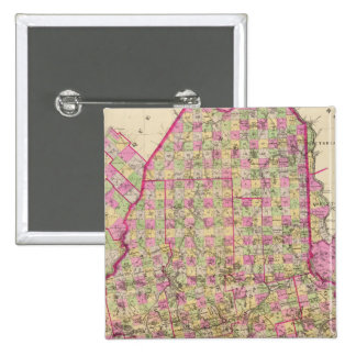 Lithographed Map of Maine 15 Cm Square Badge