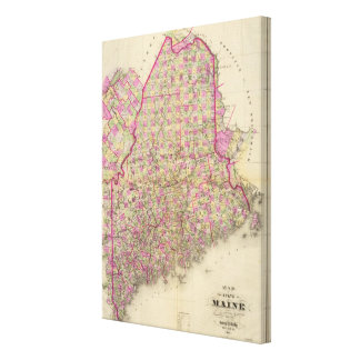 Lithographed Map of Maine Canvas Print